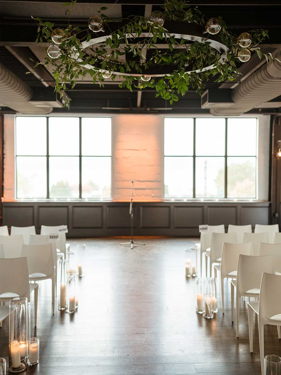 Ceremony set in an industrial loft